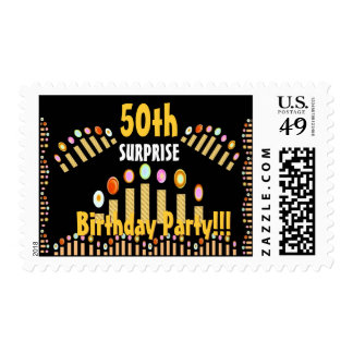 50th SURPRISE BIrthday Party - GOLD Candles Postage Stamp