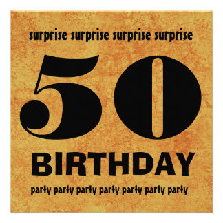 50th SURPRISE  Birthday Party Gold Grunge W1443A Invitations