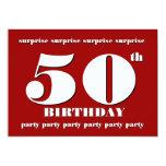 "50th SURPRISE Birthday Party Invitation - RED 5"" X 7"" Invitation Card"