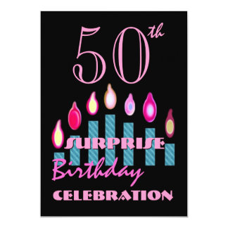 50th SURPRISE Birthday Party Invite Blue Candles