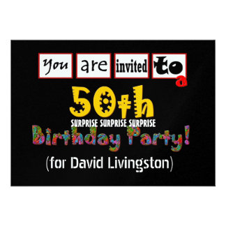50th SURPRISE Birthday Party Metallic Template Invite