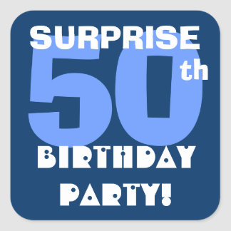 50th SURPRISE Birthday Party Navy and Aqua Blue Square Sticker