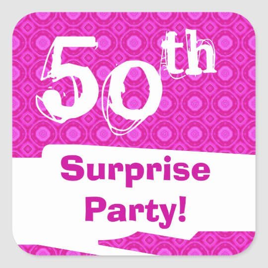 50th Surprise Birthday Party Pink Pattern Template Square Sticker