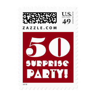 50th Surprise Birthday Party Red and White A01 Postage