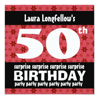 "50th SURPRISE  Birthday Party Red Stars W1676 5.25"" Square Invitation Card"