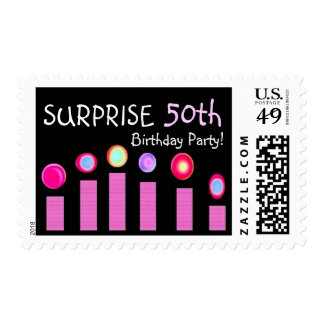 50th SURPRISE Birthday Party Stamp - Pink Candles