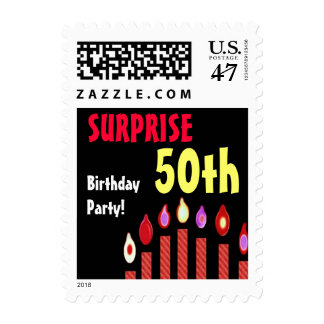 50th SURPRISE Birthday Party Stamp - Red Candles