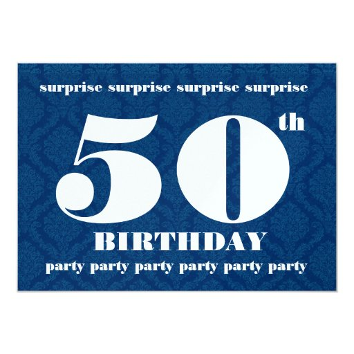 50th surprise birthday party template navy blue 5x7 paper invitation card zazzle. Black Bedroom Furniture Sets. Home Design Ideas
