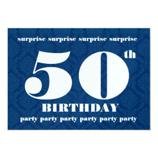 50th SURPRISE Birthday Party Template - Navy Blue 5x7 Paper Invitation Card