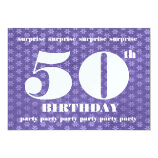 50th SURPRISE Birthday Party Template Purple 5x7 Paper Invitation Card
