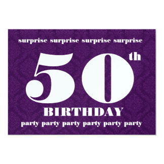 50th SURPRISE Birthday Party Template Royal Purple 5x7 Paper Invitation Card
