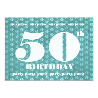 50th SURPRISE Birthday Party Template Teal Green 5x7 Paper Invitation Card