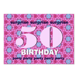 50th Surprise Birthday Pink and BLue V24 Card