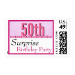 50th SURPRISE BIRTHDAY Pink Lace G200 Postage