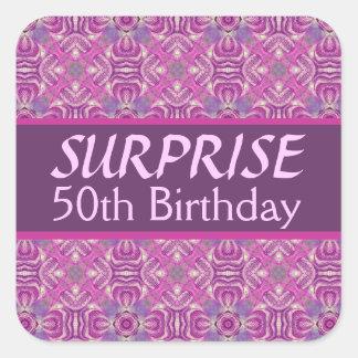 50th SURPRISE Birthday Pink Purple Pattern 001 Square Sticker