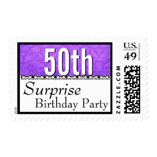 50th SURPRISE BIRTHDAY Purple and Lace G201 Postage