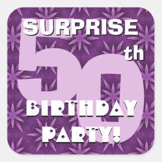 50th SURPRISE Birthday Purple Fireworks  V02 Square Sticker