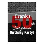 50th Surprise Birthday Red Black White Metallic Card