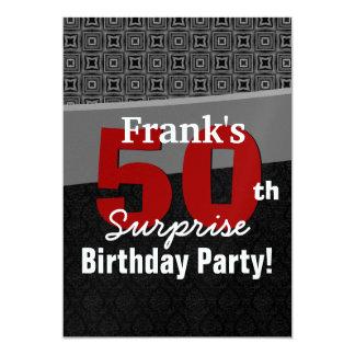 50th Surprise Birthday Red Black White Metallic Invitation