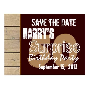 50th Surprise Birthday Save the Date Antique Wood Post Card