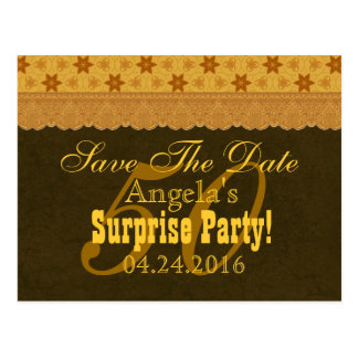 50th SURPRISE Birthday Save the Date Chocolate v2 Postcard