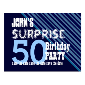 50th Surprise Birthday Save the Date Diagonal VB15 Post Cards