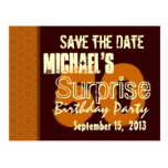 50th Surprise Birthday Save the Date Gold Post Card