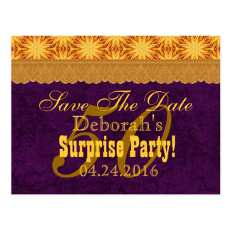 50th SURPRISE Birthday Save the Date Purple v4 Postcard