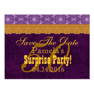 50th SURPRISE Birthday Save the Date Purple v5 Postcards