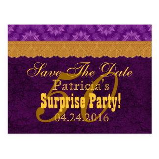 50th SURPRISE Birthday Save the Date Purple v6 Postcards