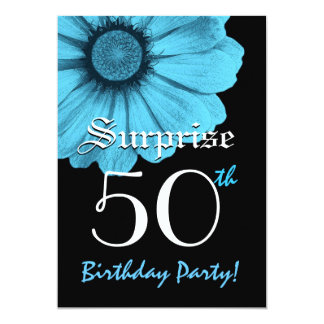 50th Surprise Birthday Single Daisy and Black Card