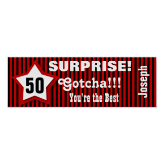 50th SURPRISE Birthday Star Banner Custom Z08J1 Poster
