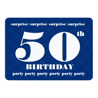 50th SURPRISE Blue and White Birthday Party v003A Card