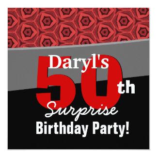 50th Surprise Geometric Pattern Custom Name 5.25x5.25 Square Paper Invitation Card