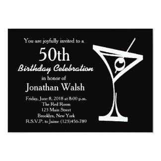 """50th Surprise Martini Birthday Invitation 5"""" X 7"""" Invitation Card"""