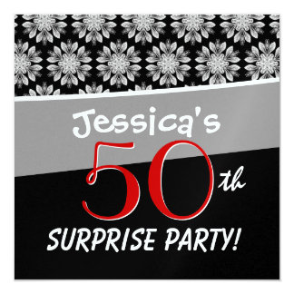 50th Surprise Party Black and White Flower Pattern Card