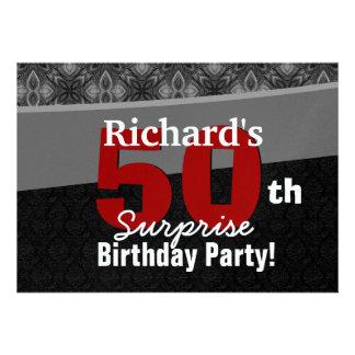 50th Surprise Party Silver Black and Red Custom Announcements