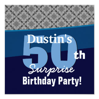 50th Surprise Party Silver Diagonal Geometric Card