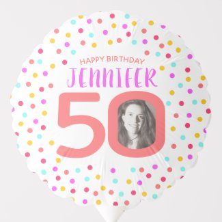 50th two custom photos colorful confetti birthday balloon