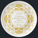 "50th Wedding Anniversary 2 - Ceramic Plate<br><div class=""desc"">50th Wedding Anniversary Plate done in gold with white background,  on a Ceramic Plate. This design is copyright owned by Lilith Berkana De&#39; Anu: Copyright 2014.</div>"