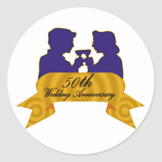 50th wedding anniversary 2t classic round sticker