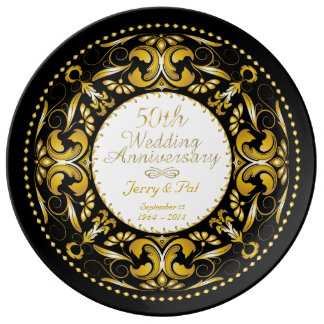 50th Wedding Anniversary 3 - Ceramic Plate