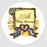50th wedding anniversary 3w round sticker
