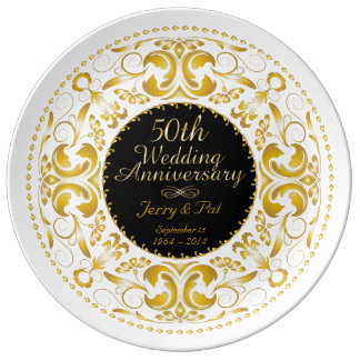 50th Wedding Anniversary 6 - Ceramic Plate Porcelain Plates