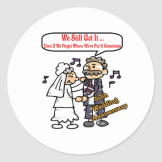 50th wedding anniversary 6t round stickers