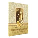50th Wedding Anniversary Antique Damask Gold Canvas Print