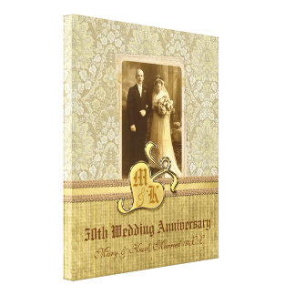 50th Wedding Anniversary Antique Damask Gold Canvas Print