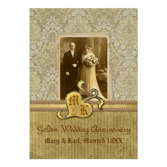 50th Wedding Anniversary Gift Etiquette: 50th Wedding Anniversary Antique Damask Gold Poster