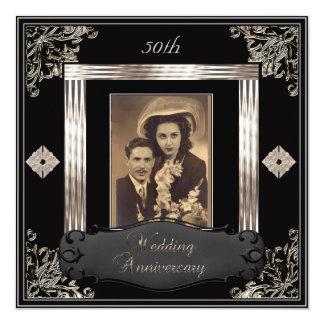 50th Wedding Anniversary Art Deco Black Sepia Custom Announcement