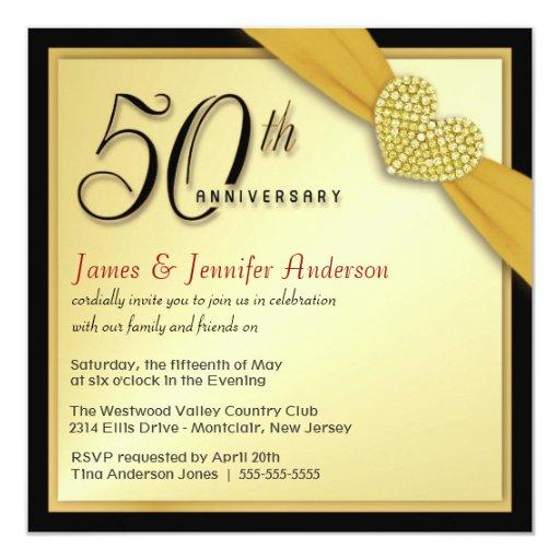 """50th Wedding Anniversary - Bargain Invitations 5.25"""" Square Invitation Card"""